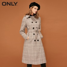 Wool Double-breasted Two-Tone Belt Button Coat
