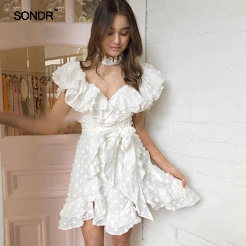 SONDR 2019 весна лето o образным вырезом воротник с коротким рукавом белый перспективный горошек печатных оборками Мини платье Женская мода Tide - 2