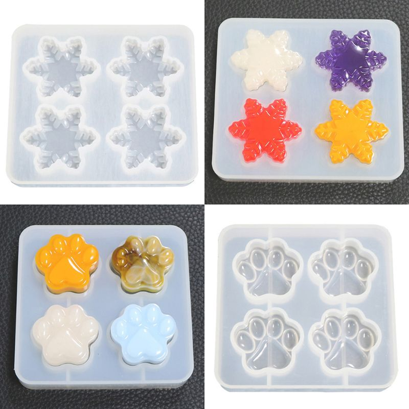 Silicone Mold For Jewelry Pendant Resin Epoxy Cartoon Cat Claw Snowflake Mould Crafts Making Molds Tools
