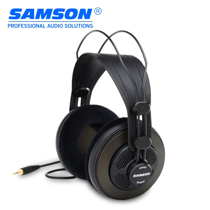 Original Samson SR850 professional monitoring headphone for studio semi open monitor headset with velour earpads