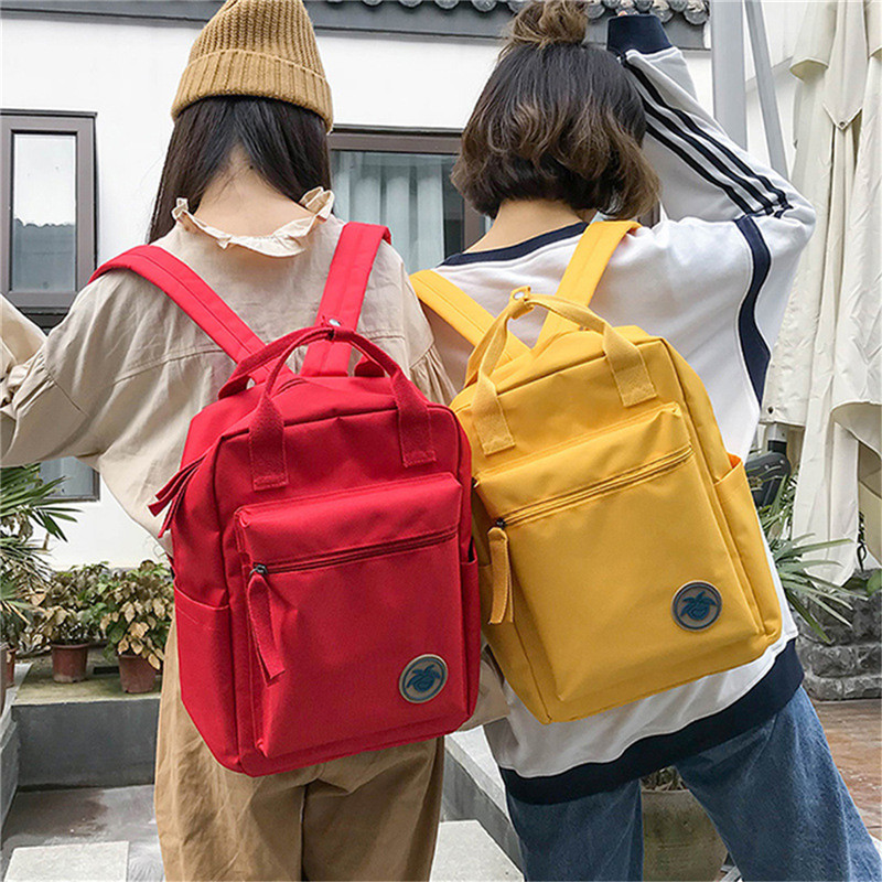 Yellow Red Back Packs Feminine Canvas Backpack For Teenager Girls Travel Mochila Satchel School Bags Female