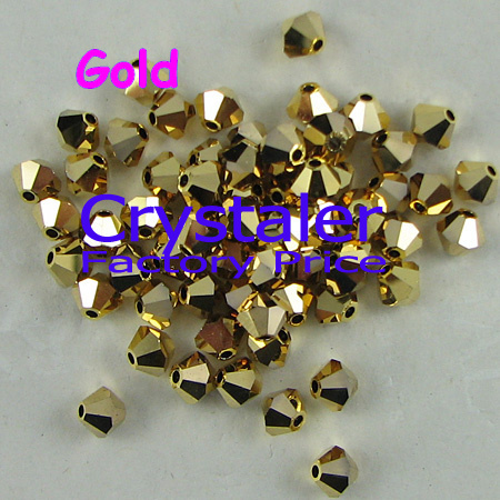 K9 Crystal Grade AAAA 5301# gold Hemtite Color 3mm  4mm 5mm 6mm 8mm Glass Bicone Beads