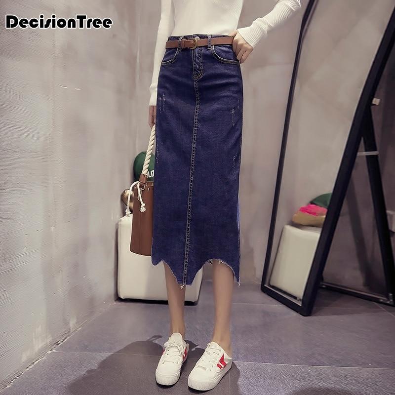Larga En Longa Maxi Faldas Pantalones 2019 Saias Casual Femenina Cintura Las Vaqueros Faldas Alta De Nuevas Jeans Elástico Falda Mujeres X7ZOwPqZ