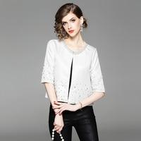 2019 new Korean women's fashion beading sweet plus size Half sleeve cardigan short women jackets