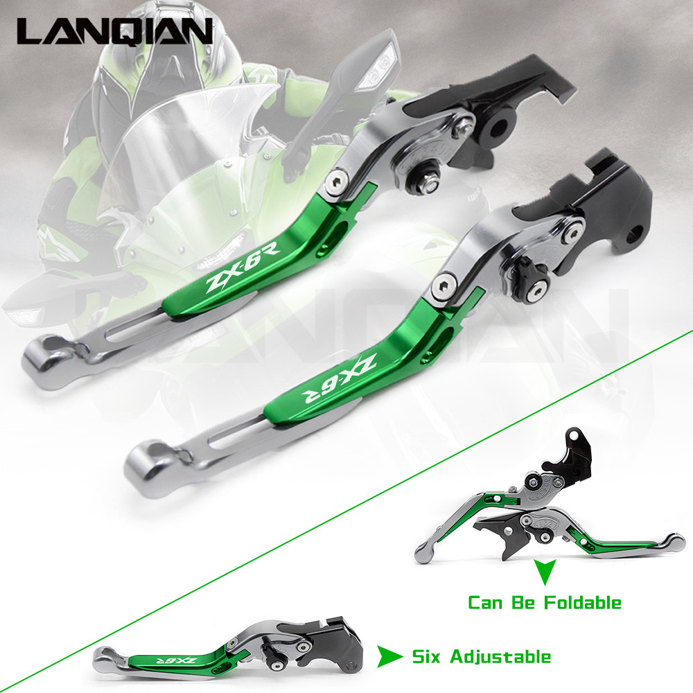 For KAWASAKI Ninja ZX6R 636 ZX6RR ZX 6R 2005 2006 CNC Motorcycle Accessories Brake Clutch Levers Adjustable Folding Extendable cnc brake clutch levers for kawasaki ninja zx 7r 96 03 zx 7 r zx 7r zx7r 1996 1997 1998 1999 zx750 extendable foldable lever