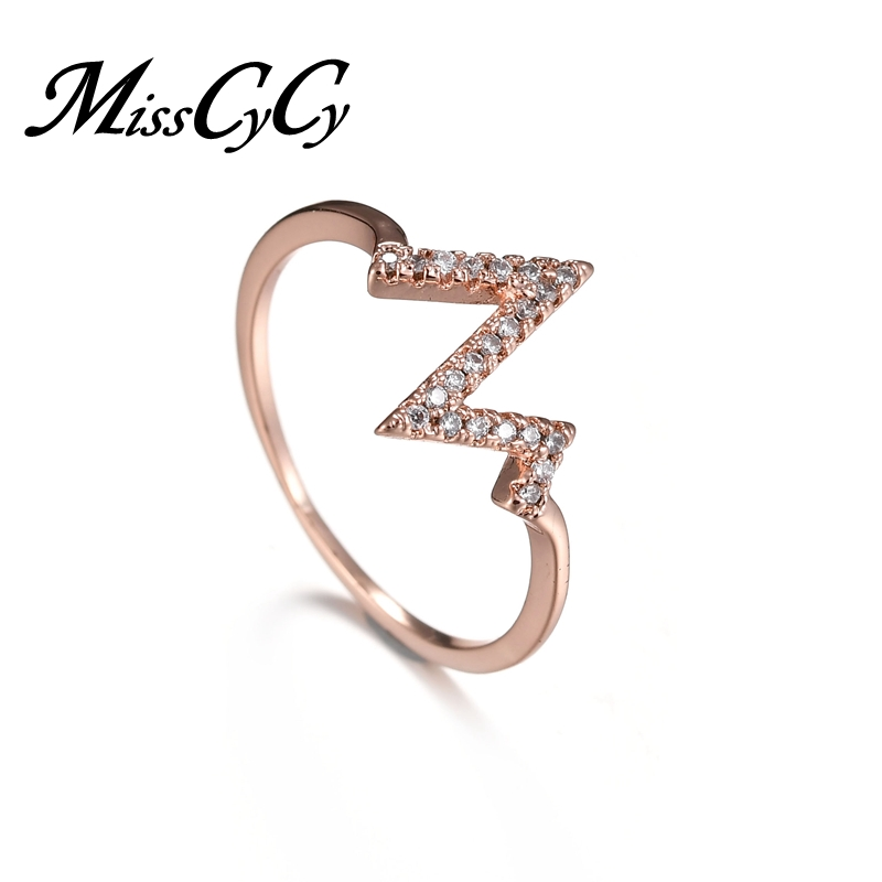 MissCyCy Rose Gold Color Electrocardiogram Rings for Women Cubic Zirconia Engagement Ring Wedding Jewelry