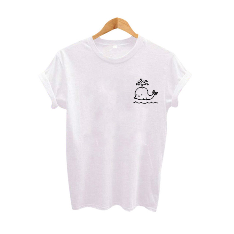 Cute graphic pocket tee women tops summer tshirt 2017 for Pocket tee shirts for womens