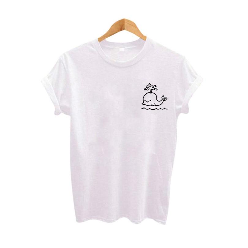Cute Graphic Pocket Tee Women Tops Summer tshirt 2018 Fashion Slogan Women   T     shirt   Harajuku Cartoon Tumblr Clothing