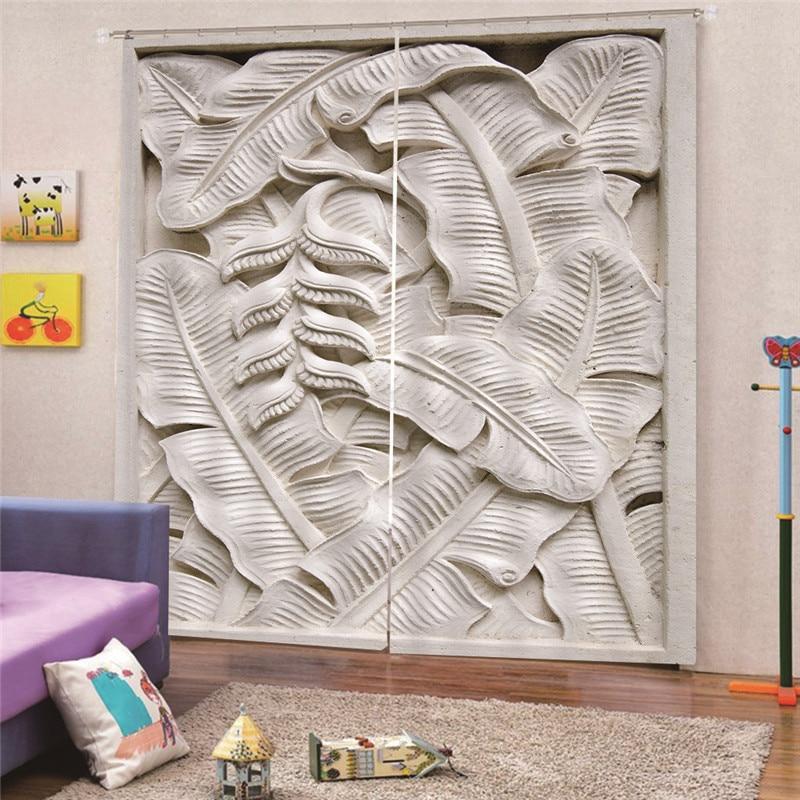 3D цифровой печати рисунок банановых листьев скошенный шторы вилла на крыше окна мансарде затемнение комнаты украшения интерьера, шторы Draps ...