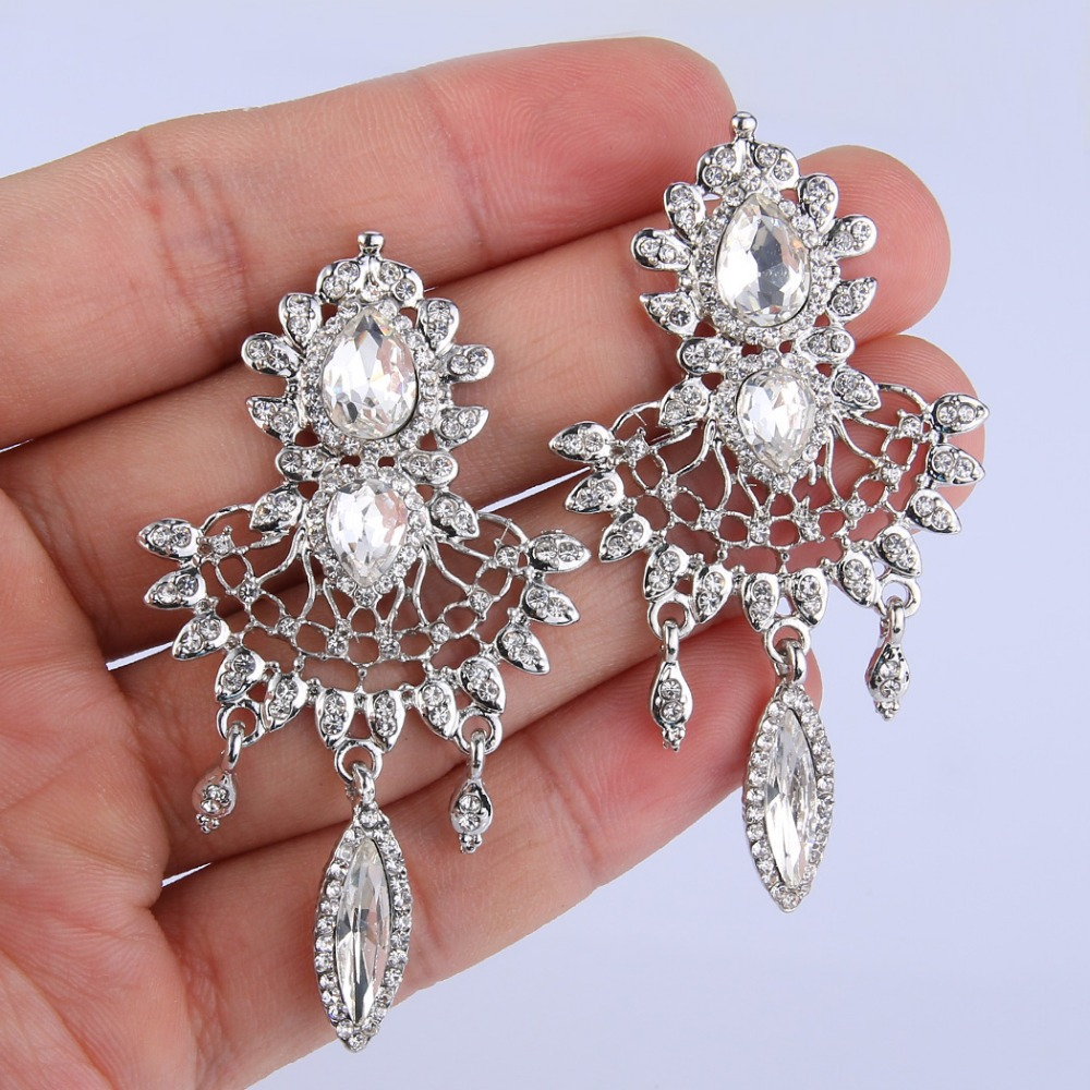 Bella Crystal Ring Chandelier: Bella Fashion Tear Chandelier Bridal Earrings Clear