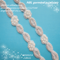 (20 yards) wholesale bridal beaded rhinestone applique pearl trim iron on for wedding dress garment WDD0214