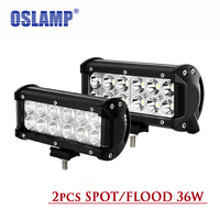 Oslamp 36W 7inch Reflective Cup CREE Chips Led Work Lights 2pcs OffRoad Driving Lights Spot Flood