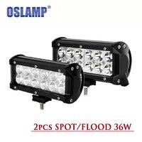 Oslamp 36 W 7 inç Yansıtıcı Fincan Led Cips Otomatik Çalışma Işıkları 2 adet OffRoad Sürüş Işıkları Spot/Sel ATV Pick-Up RZR Tekne SUV araba