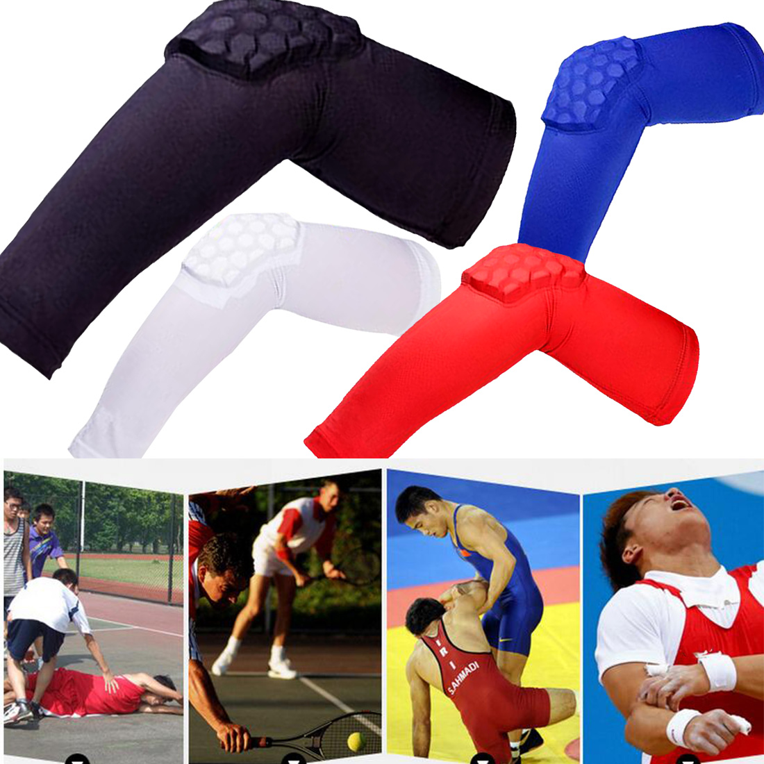 Brand New Breathable Crashproof Honeycomb Elbow Pad Support Protector Guards Pads Basketball Elastic Sweat Arm Sleeve Warmers