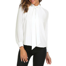 Young17 Long Sleeve White Shirt Women Stand Collar Bow Tie Chiffon Blouse Spring Autumn Office Lady Work Shirts