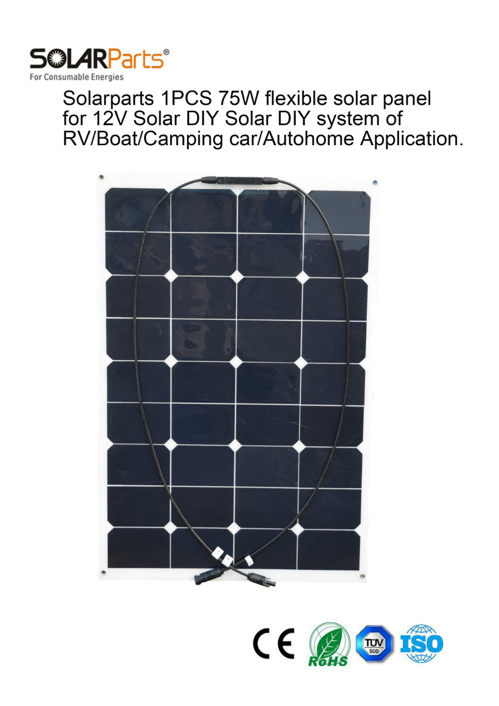 solarparts 1pcs 75w flexible solar panel 12v cell system kits diy yacht boat. Black Bedroom Furniture Sets. Home Design Ideas