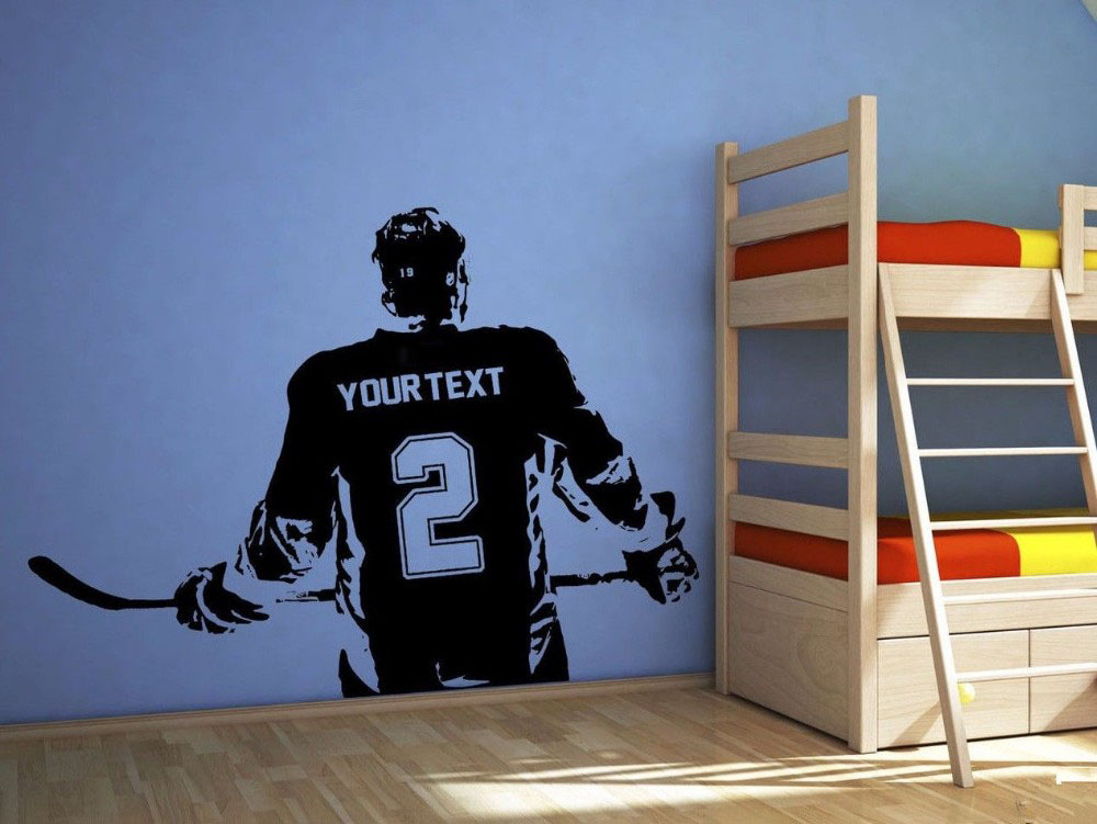 3d poster boys bedroom hockey player wall sticker choose name number personalized home decor. Black Bedroom Furniture Sets. Home Design Ideas