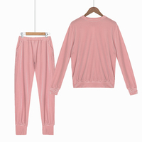 Autumn 2017 Women Pajamas Home Wear Velvet Long Sleeve Top Long Pants Elastic Waist Women S