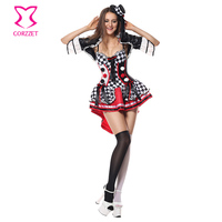 Funny Poker Clown Costume Party Cosplay Carnival Costume Women Halloween Club Sexy Fancy Dress Harley Quinn Costumes For Adults