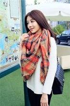 Women Blanket comfortable warm oversized mixed Orange tartan scarf wrap shawl