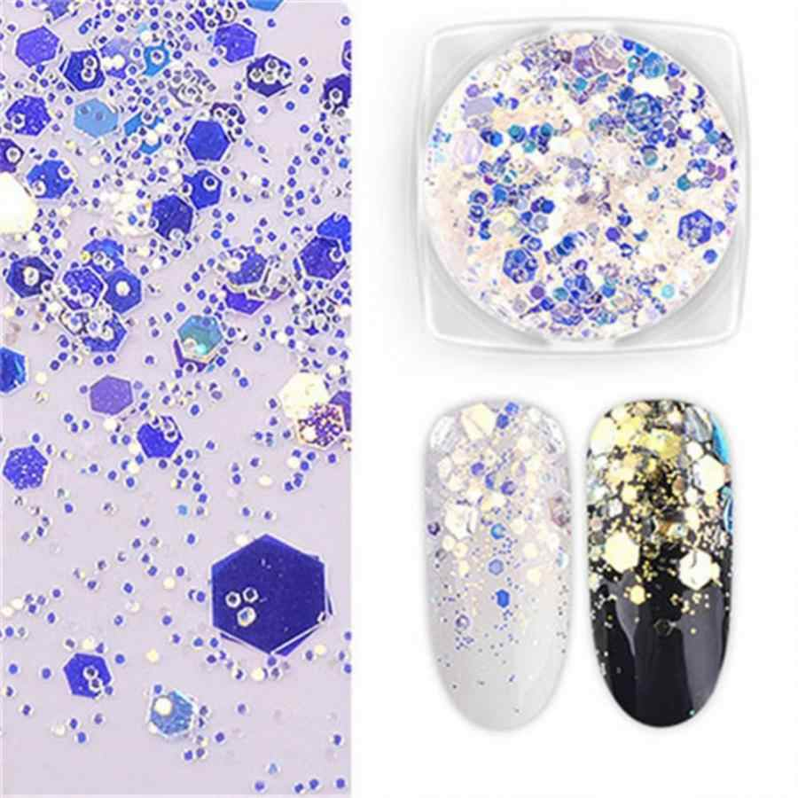 Big Promotion Nail Glitter 5 Colors Glitter Round Decoration Mixing Color DIY Nail Art Stickers Sequins Nail Glitter