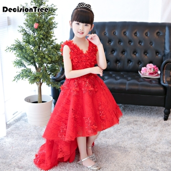 2019 new flower girl wedding prom mullet gown children's princess trailing costume ceremony party formal dresses clothes