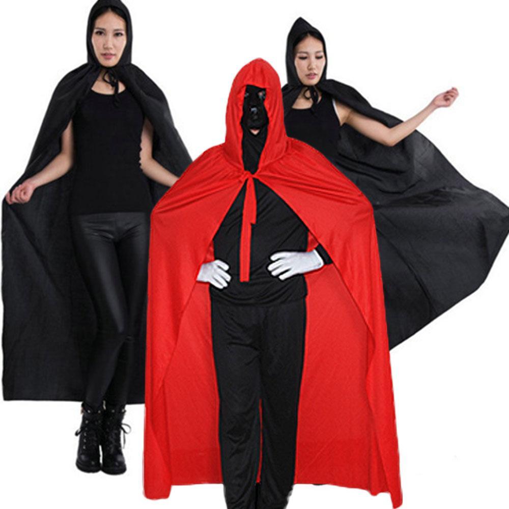 Unisex Cloak Halloween Grim Reaper Cloak Lace Up Fancy Dress Costume Cosplay Black Hooded Death Demon Vampire Clothing