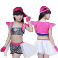New Girls Sequined Jazz Modern Dance Costumes Kids Hip Hop Dancewear Costumes Set Top&Short
