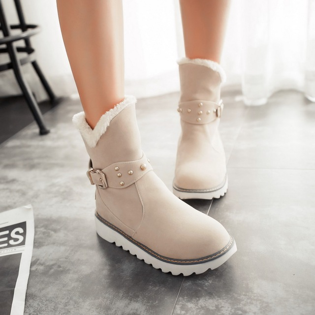 Odetina Black Buckle Strap Wedge Ankle Snow Boots 2016 Women Plush Winter Shoes Large Size Slip on Suede Short Booties Platform