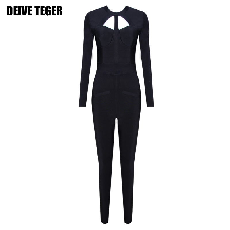 DEIVE TEGER 2017 womens HOLLOW OUT long sleeve Party Bandage Rompers FULL Length black Jumpsuit HL2304