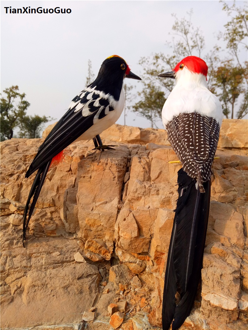 large 30cm coloured feathers woodpecker bird hard model,simulation bird teaching prop handicraft garden decoration gift s0310