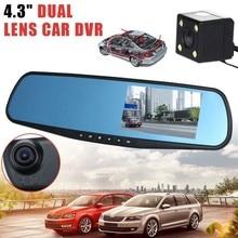 Full HD 1080 P Автомобильный видеорегистратор Камера Авто 4,3 дюймов Зеркало заднего вида цифрового видео Регистраторы Двойной объектив Registratory видеокамера