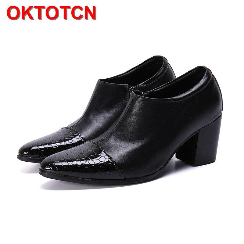 Wąż wzór Pointed Toe mężczyźni wysokie obcasy buty gorąca gruby obcas ręcznie robione skórzane buty mężczyźni Zipper wysokiej Hop buty biurowe panowie! w Buty wizytowe od Buty na  Grupa 1