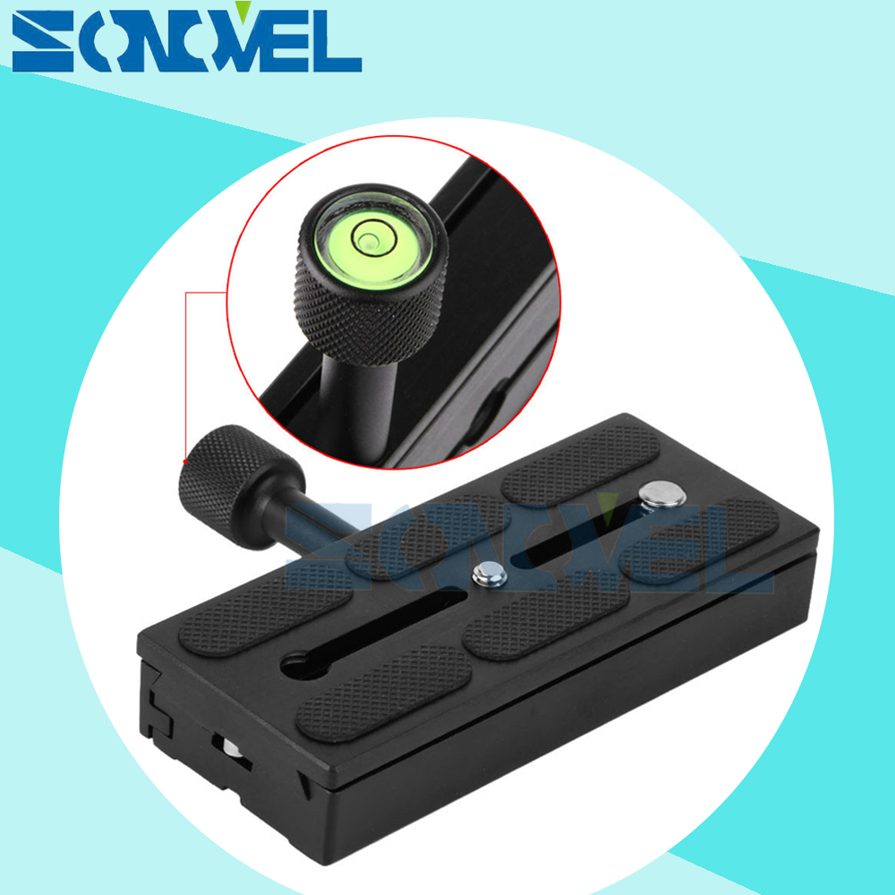 120*50mm Clamp Adapter for DSLR Camera Stand Tripod Quick Release Plate Mount Screw Adapter with bubble level