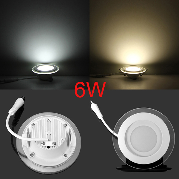 DHL Free 6w 12w 18w led panel downlight glass Round ceiling recessed panel light warm/cold white painel lights AC85-265V CE