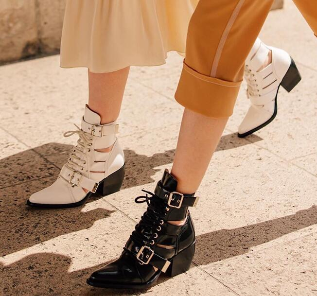 real leather woman pointed toe hollow belt buckle flat ankle woman boots cool woman leather lace