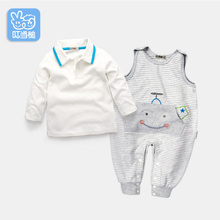 Dinstry Infant clothes spring youngsters's clothes Zero-1-2-Three 12 months previous child garments Spring and Autumn T-shirt+romper 2pieces units