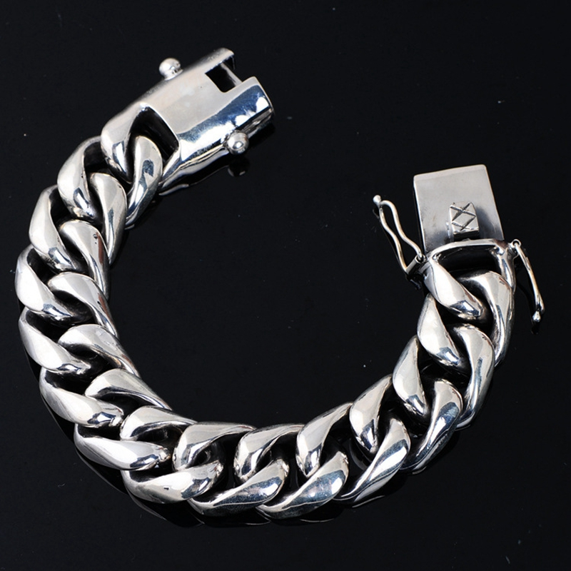 100% 925 sterling silver domineering bracelets handmade 2cm 20mm crude 22cm fashion punk bracelets silver 925 for man jewelry