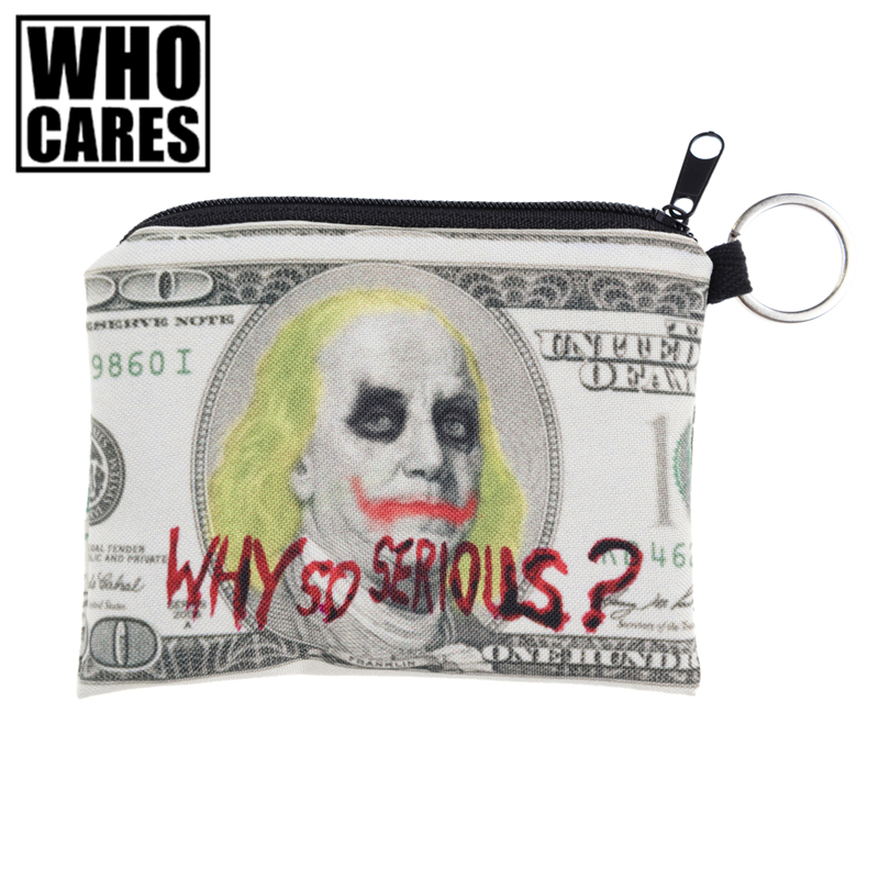 Jocker Dollar Prints Mini Square Coin Purse Wallet 3d Women Purse Porte Monnaie Bolsa Feminina Small Zipper Pouch Girl Key Bags