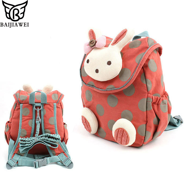 BAIJIAWEI 2018 Animal Style School Bag Cute Rabbit Plush Drawstring Backpack Children Sc ...