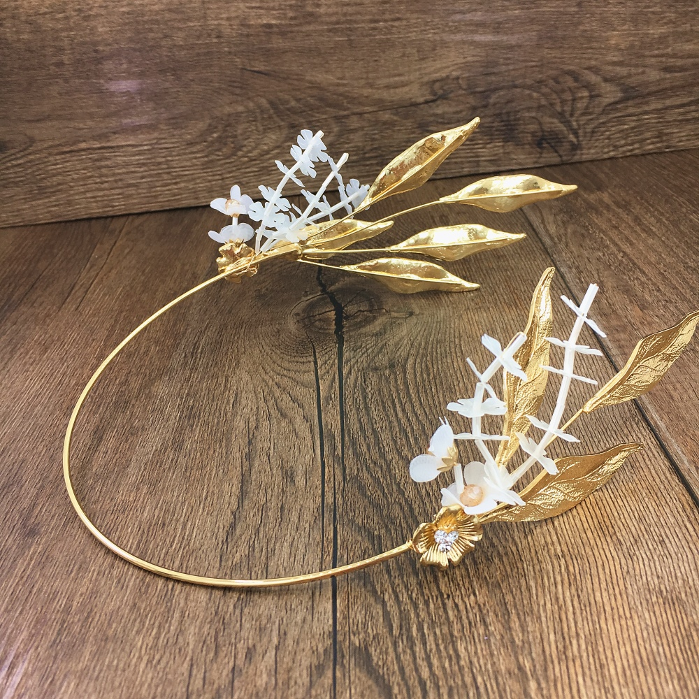 Baroque Gold Leaf Tiara Set Handmade Flower Crown Bridal Headpiece Ornament Jewelry Wedding Hair Accessories WIGO1156 цена