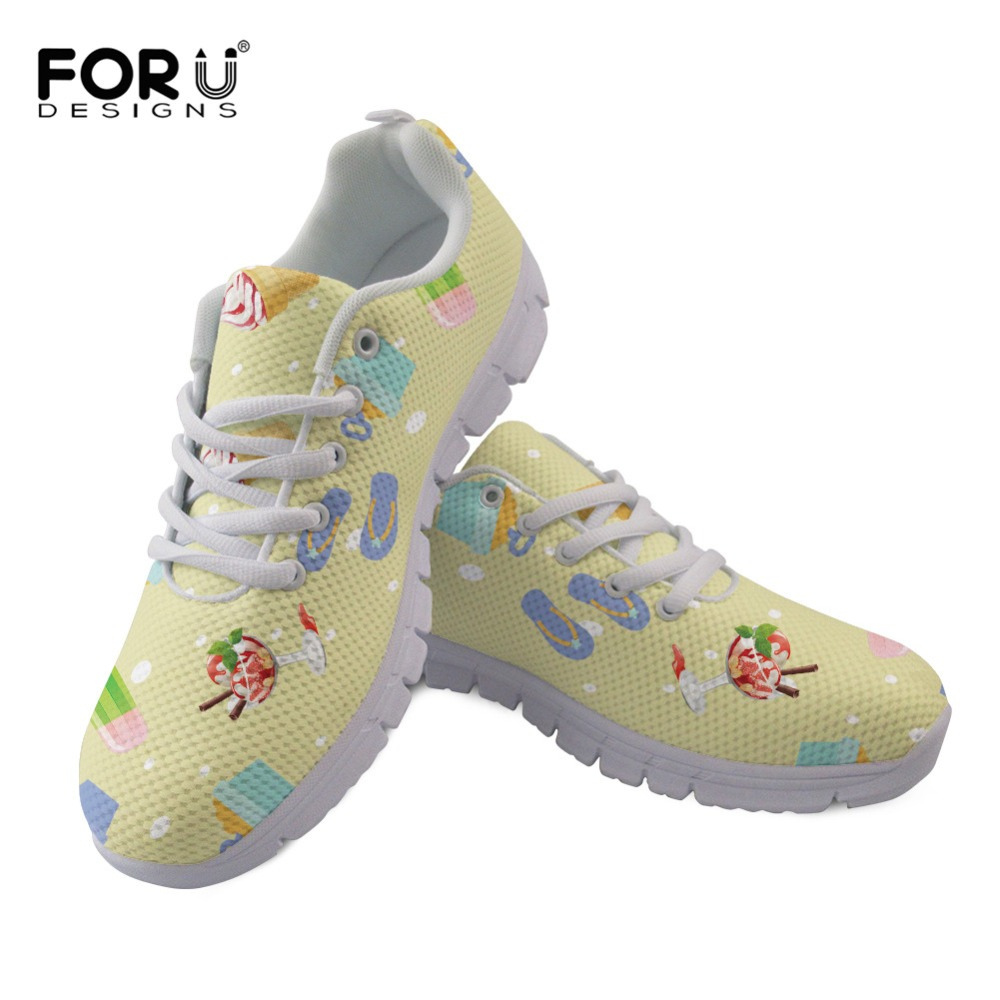 FORUDESIGNS Summer New Women Flat Shoes Ice Cream Pattern Casual Flat Air Mesh Breathable Shoes Lace up Sneakers Zapatos Mujer pinsen fashion women shoes summer breathable lace up casual shoes big size 35 42 light comfort light weight air mesh women flats