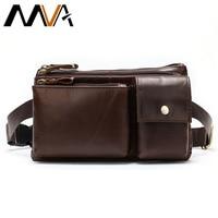 MVA Men's Fanny Pack Waist Bag for Men Leather Clutch Belt Bag Male Wallet Chest Waist Pack Multi function Travel Pouch Packs