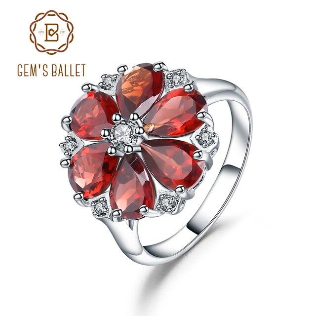 GEMS BALLET 5.05Ct Natural Red Garnet Cocktail Ring 925 Sterling Silver Gemstone Vintage Flower Rings For Women Fine Jewelry