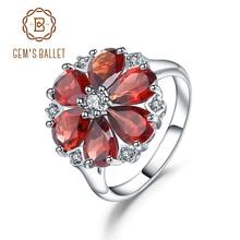 GEMS BALLET Anillo de cóctel de Plata de Ley 925 con gema, anillo de flor Vintage con rojo granate Natural, para mujeres