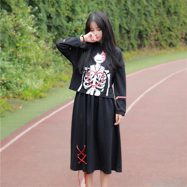autumn women's Japan Harajuku wind cute soft sister Dark style printed zipper long-sleeved shirt + skirt suits