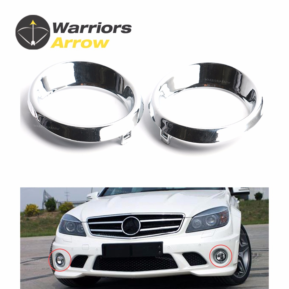 2048850674 2048850574 For Mercedes C Class C300 C250 C63 AMG Sedan Pair LH+RH Chrome Front Fog Light Cover Lamp Bezel Grille