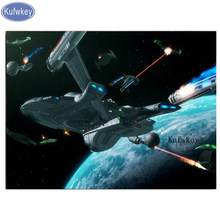 "5D DIY full square Diamond Painting Cross Stitch""Star Trek Spaceship Art""stickers 3D diamond mosaic Embroidery beads diamond(China)"