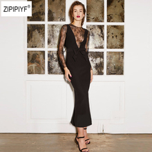 02670c7c913 ZIPIPIYF Sexy Elegant Solid Stylish Formal Work O-Neck Lace Spliced Maxi  Dress