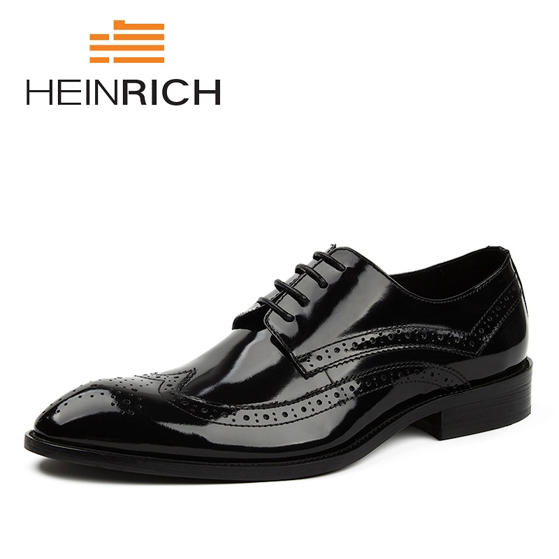 HEINRICH New Luxury Leather Shoes Lace Up Modern Men's Business Shoes Wedding Suit Formal Male Dress Shoes Sepatu Kulit Pria mycolen luxury 2018 newest patent leather shoes men formal business flat shoes lace up men derby wedding shoes sepatu pria